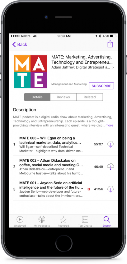MATE podcast is now live in the Podcasts app (iPhone 6s Plus space grey)