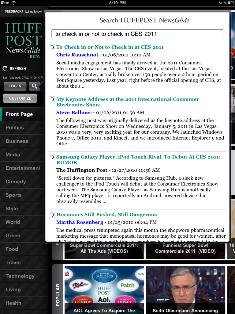 Chris Rauschnot's article on HuffPost appearing next to Steve Ballmer's